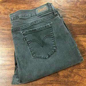 LEVI'S 505 Mid Rise Straight Leg Black Denim Jeans